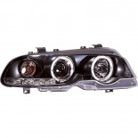 Set Koplampen BMW 3-Serie E46 Coupe/Cabrio 1999-2002 - Zwart - incl. Angel-Eyes & Motor